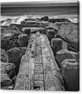 The Jetty In Black And White Canvas Print