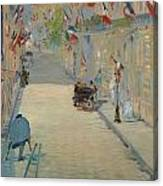 The Rue Mosnier With Flags Canvas Print