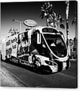 the sdx strip downtown express bendy bus on the Las Vegas strip Nevada USA Canvas Print