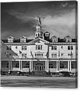 The Stanley Hotel Panorama Bw Canvas Print