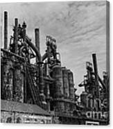 The Steel Mill In Black And White Canvas Print
