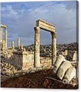 The Temple Of Hercules And Sculpture Of A Hand In The Citadel Amman Jordan Canvas Print