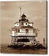 Thomas Point Shoal Lighthouse Sepia No. 2 Canvas Print