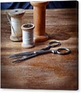Thread And Scissors Canvas Print