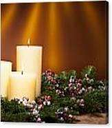 Three Candles In An Advent Flower Arrangement Canvas Print