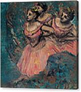 Three Dancers In Red Costume Canvas Print