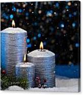 Three Silver Candles In Snow  Canvas Print