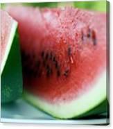 Three Slices Of Watermelon Canvas Print