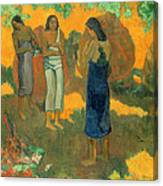 Three Tahitian Women Against A Yellow Background Canvas Print