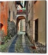 Tight Alley With A Bridge Canvas Print