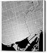 Toronto Street Map - Toronto Canada Road Map Art On Colored Back Canvas Print