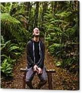 Travel Man Laughing In Tasmania Rainforest Canvas Print