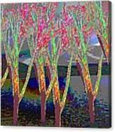 Trees Around Faal Season  Digitally Painted Photograph Taken Around Poconos  Welcome To The Pocono M Canvas Print