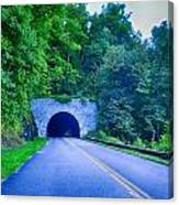 Tunnel Through Mountains On Blue Ridge Parkway In The Morning Canvas Print