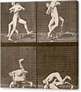 Two Men Wrestling Canvas Print