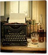Typewriter And Whiskey Canvas Print