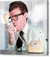 Unhappy Nerd Businessman Yelling Down Retro Phone Canvas Print