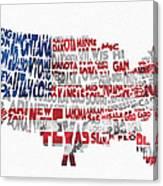 United States Typographic Map Flag Canvas Print