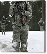 U.s. Army Soldier Conducts A Dismounted Canvas Print