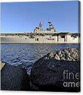Uss Bataan Arrives At Naval Station Canvas Print