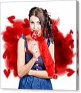 Valentines Day Woman Eating Heart Candy Canvas Print