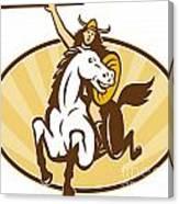 Valkyrie Riding Horse Retro Canvas Print