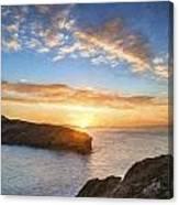 Van Gogh Style Digital Painting Beautiful Vibrant Sunrise Over Rocky Coastline Canvas Print