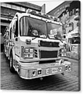 Vancouver Fire Rescue Services Truck Engine Outside Hall 2 In Downtown Eastside Bc Canada Canvas Print