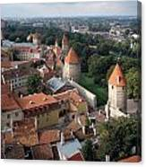 View From Above Of Old Town Tallinn Estonia Canvas Print