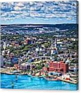View Of The St. John's Newfoundland From Signal Hill Canvas Print
