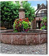 Village Fountain In Provence Canvas Print