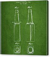 Vintage Beer Bottle Patent Drawing From 1934 - Green Canvas Print