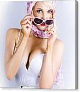 Vintage Blond Beauty In Pinup Fashion Accessories Canvas Print