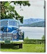 Vintage Blue Caddy At Lake George New York Canvas Print