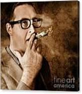 Vintage Business Man Smoking Money In Success Canvas Print