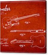 Vintage Fender Guitar Patent Drawing From 1951 Canvas Print