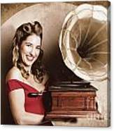 Vintage Pin-up Girl Listening To Record Player Canvas Print