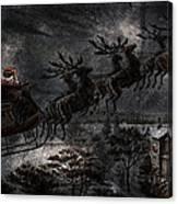 Vintage Santa Stormy Midnight Ride Reindeer Sleigh Canvas Print
