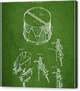 Vintage Snare Drum Patent Drawing From 1889 - Green Canvas Print