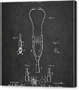 Vintage Stethoscope Patent Drawing From 1882 - Dark Canvas Print