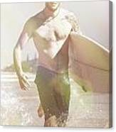 Vintage Surfer Running With His Board In Surf Canvas Print