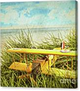 Vintage Toy Plane In Tall Grass At The Beach Canvas Print