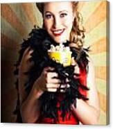 Vintage Woman Eating Popcorn At Movie Premiere Canvas Print