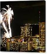 Waikiki Fireworks Canvas Print