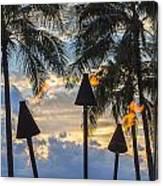 Waikiki Sunset Torches Canvas Print