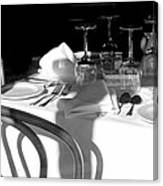 Waiting For Diners Bw Canvas Print