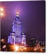 Warsaw Poland Downtown Skyline At Night Canvas Print