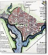 Washington, Dc, Plan, 1792 Canvas Print