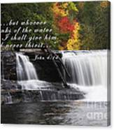 Waterfall With Scripture Canvas Print