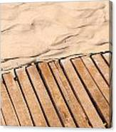 Weathered Wooden Boardwalk On Sand Canvas Print